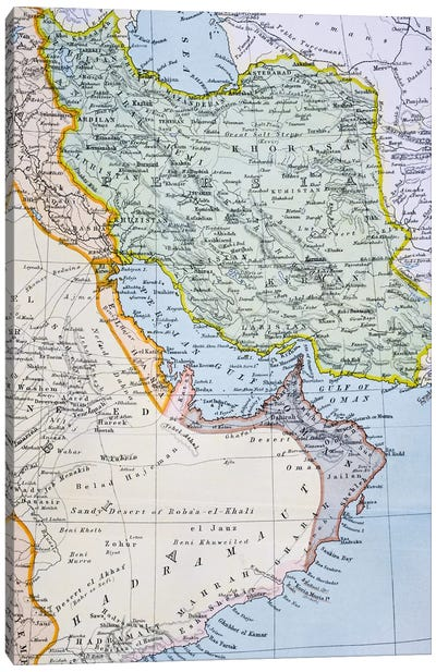 Partial Map of the Middle East showing the Red Sea, Persian Gulf and Horn of Africa in the 1890s, from 'The Citizen's Atlas of the World', published in London, c.1899  Canvas Print #BMN4930