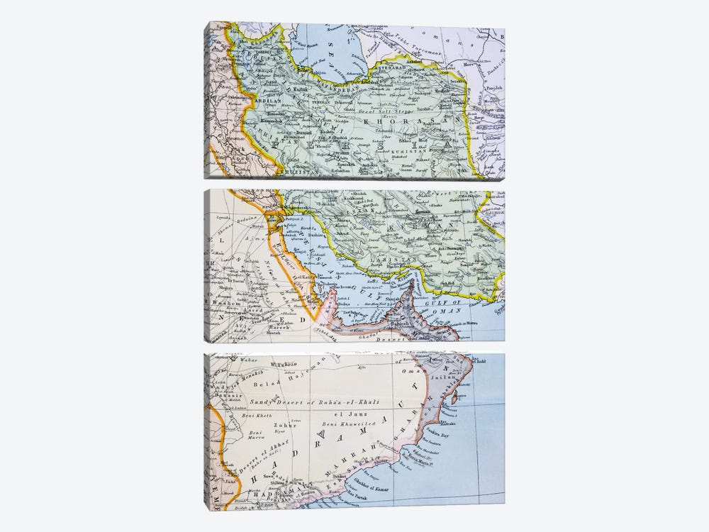 Map Of The Middle East Showing The Red Sea, Persian Gulf And Horn Of Africa (1890's), The Citizen's Atlas Of The World, c.1899  by English School 3-piece Canvas Art