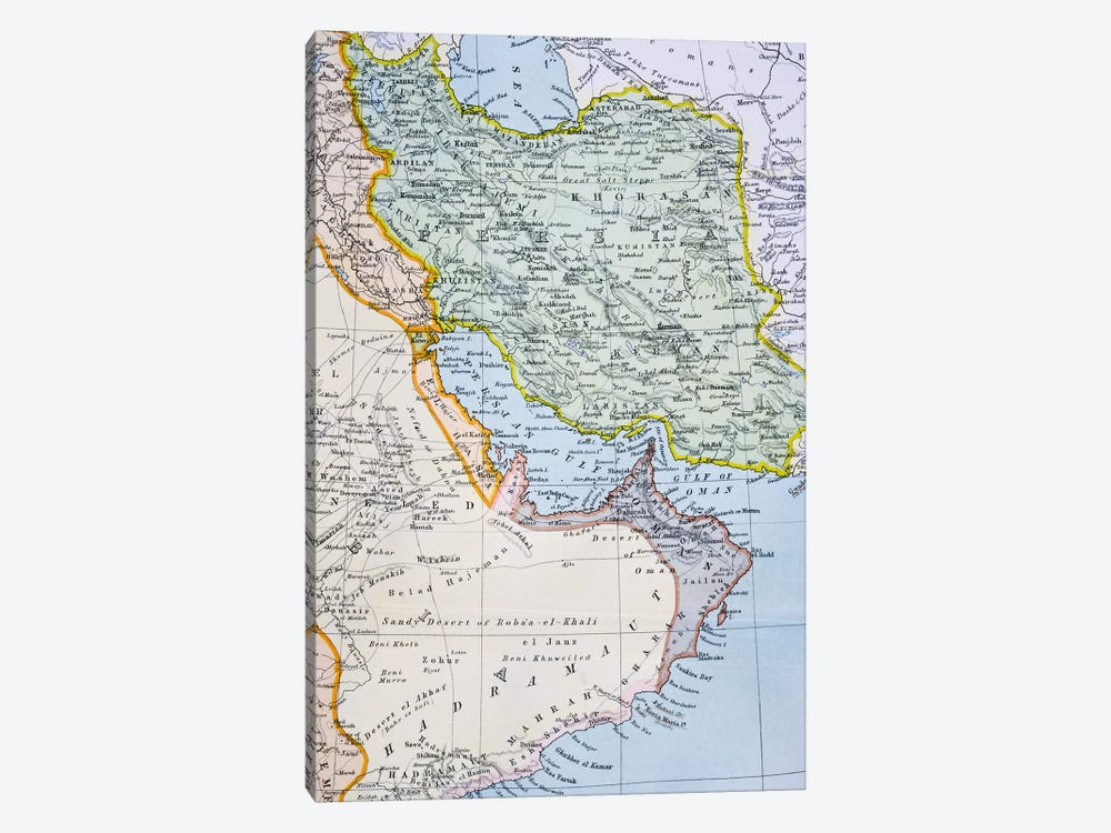 Map Of The Middle East Showing The Red Sea, Persian Gulf And Horn Of Africa (1890's), The Citizen's Atlas Of The World, c.1899  by English School 1-piece Canvas Art
