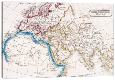 Map of Europe Northern Africa and Western Asia, Orbis Veteribus Notus, from 'The Atlas of Ancient Geography', by Samuel Butler,  Canvas Art Print