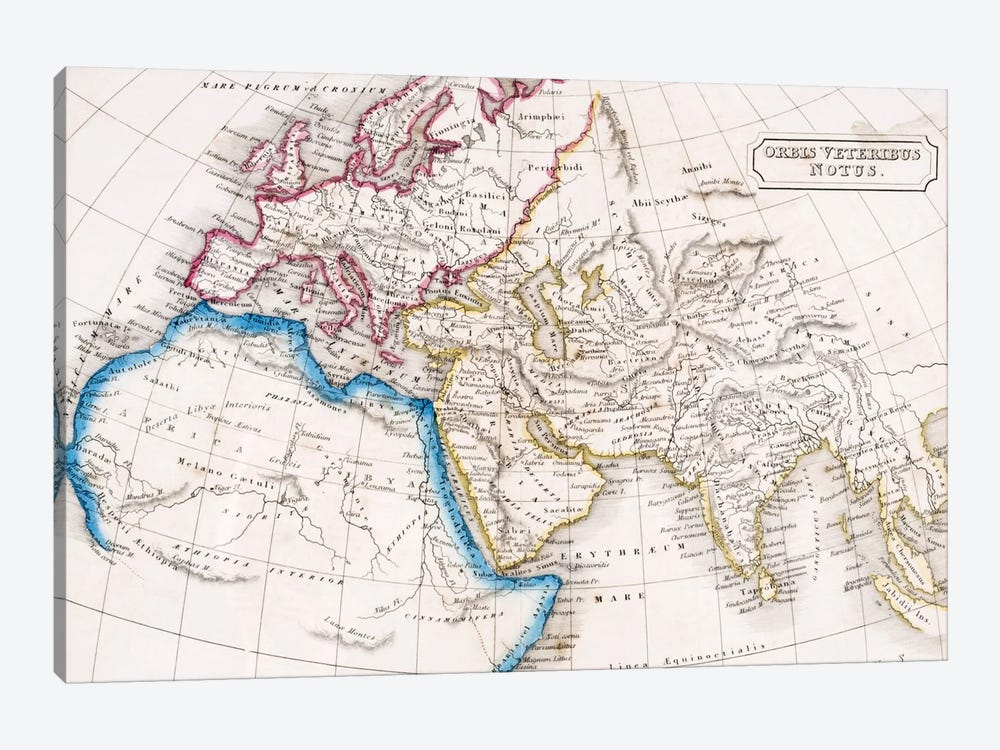 Map of Europe Northern Africa and Western Asia, Orbis Veteribus Notus, from 'The Atlas of Ancient Geography', by Samuel Butler,  by English School 1-piece Canvas Print