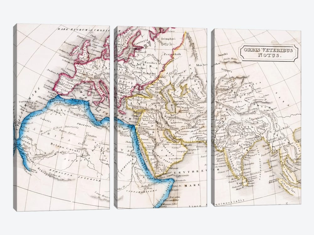 Orbis Veteribus Notus, The Atlas Of Ancient Geography, c.1829  by English School 3-piece Canvas Art Print