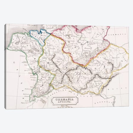 Map of Germany, Germania Antiqua, from 'The Atlas of Ancient Geography', by Samuel Butler, published in London, c.1829  Canvas Print #BMN4938} by English School Canvas Artwork