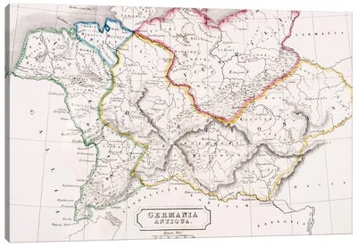 Map of Germany, Germania Antiqua, from 'The Atlas of Ancient Geography', by Samuel Butler, published in London, c.1829  Canvas Art Print
