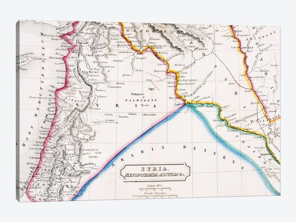 Map of Syria, Mesopotamia, Assyria &c., from 'The Atlas of Ancient Geography', by Butler published in London, c.1829  by English School 1-piece Canvas Print