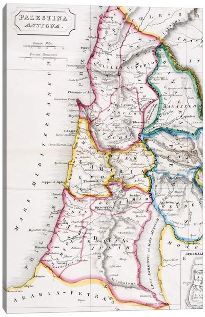 Map of Palestine, Palestina Antiqua, from 'The Atlas of Ancient Geography' by Samuel Butler, published in London, c.1829  Canvas Art Print