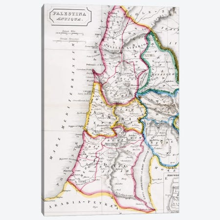 Map of Palestine, Palestina Antiqua, from 'The Atlas of Ancient Geography' by Samuel Butler, published in London, c.1829  Canvas Print #BMN4940} by English School Canvas Art Print