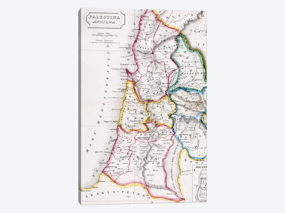 Map of Palestine, Palestina Antiqua, from 'The Atlas of Ancient Geography' by Samuel Butler, published in London, c.1829  by English School 1-piece Art Print