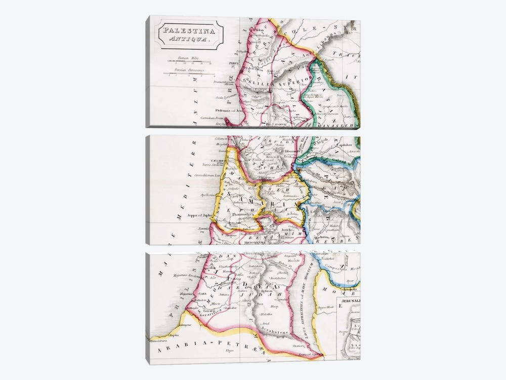Map of Palestine, Palestina Antiqua, from 'The Atlas of Ancient Geography' by Samuel Butler, published in London, c.1829  by English School 3-piece Canvas Art Print