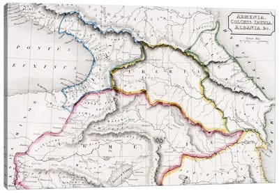 Map Of Armenia, Colchis, Iberia And Albania, The Atlas of Ancient Geography, c.1829  Canvas Art Print