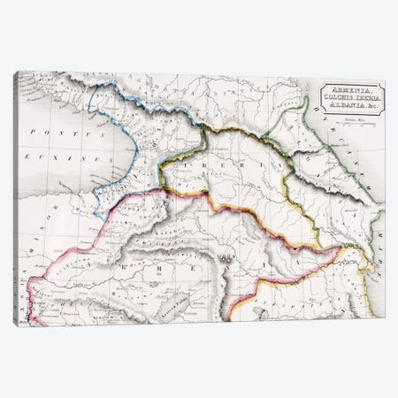 Map Of Armenia, Colchis, Iberia And Albania, The Atlas of Ancient Geography, c.1829  Canvas Print #BMN4941} by English School Canvas Print
