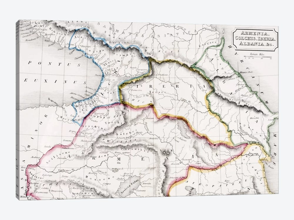 Map Of Armenia, Colchis, Iberia And Albania, The Atlas of Ancient Geography, c.1829  by English School 1-piece Canvas Artwork