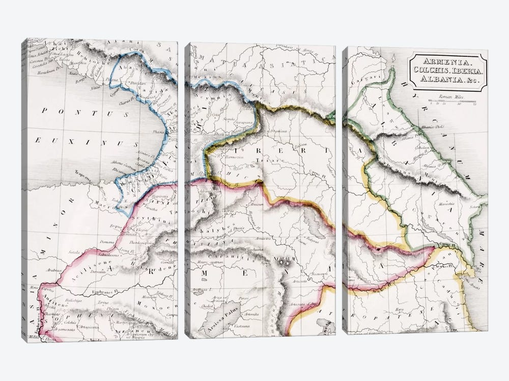 Map Of Armenia, Colchis, Iberia And Albania, The Atlas of Ancient Geography, c.1829  by English School 3-piece Canvas Wall Art