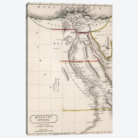 Map of Aegyptus Antiqua  Canvas Print #BMN4942} by Sidney Hall Art Print