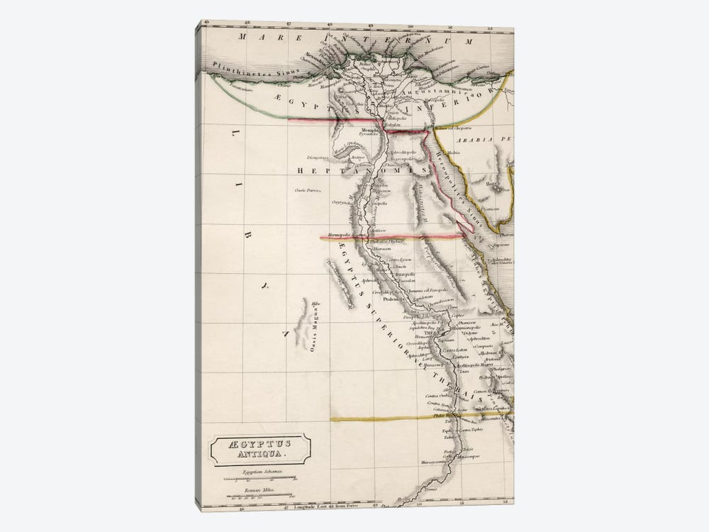 Map of Aegyptus Antiqua  by Sydney Hall 1-piece Art Print
