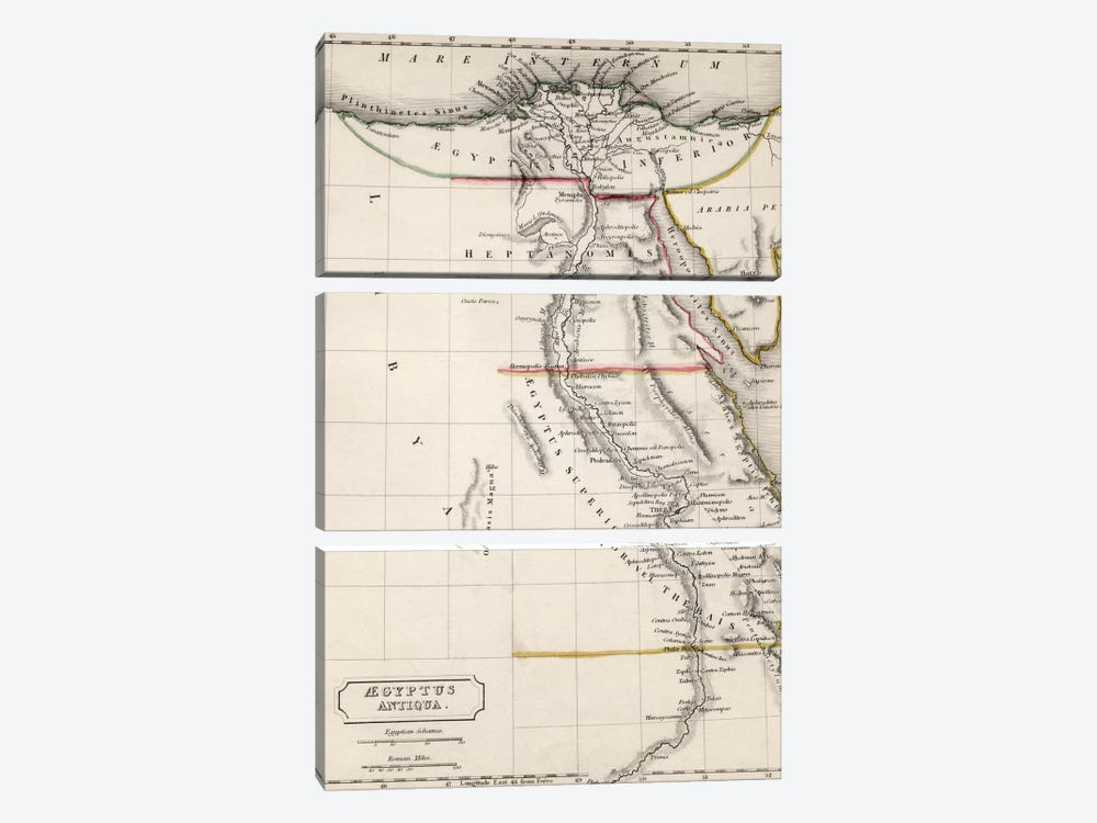 Map of Aegyptus Antiqua  by Sydney Hall 3-piece Art Print