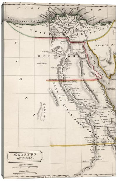 Map of Aegyptus Antiqua  Canvas Art Print