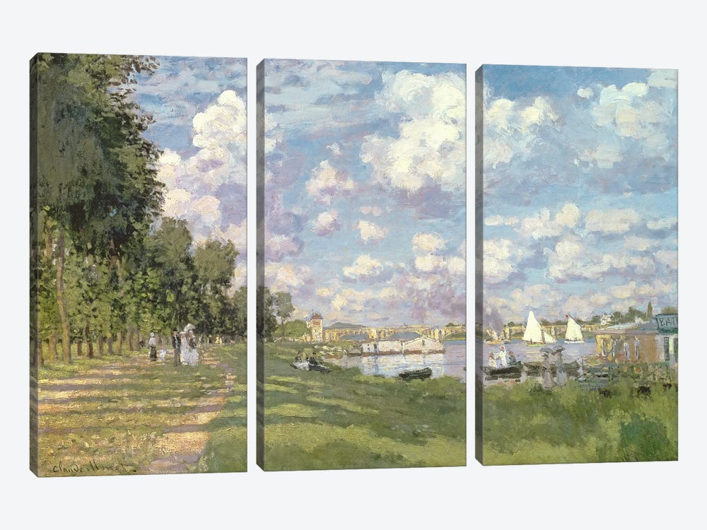 The Marina at Argenteuil, 1872 by Claude Monet 3-piece Canvas Print