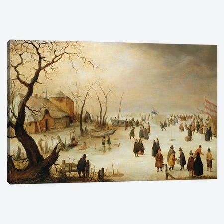 A Winter River Landscape with Figures on the Ice  Canvas Print #BMN4950} by Hendrik Avercamp Canvas Wall Art