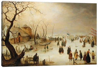 A Winter River Landscape with Figures on the Ice  Canvas Art Print
