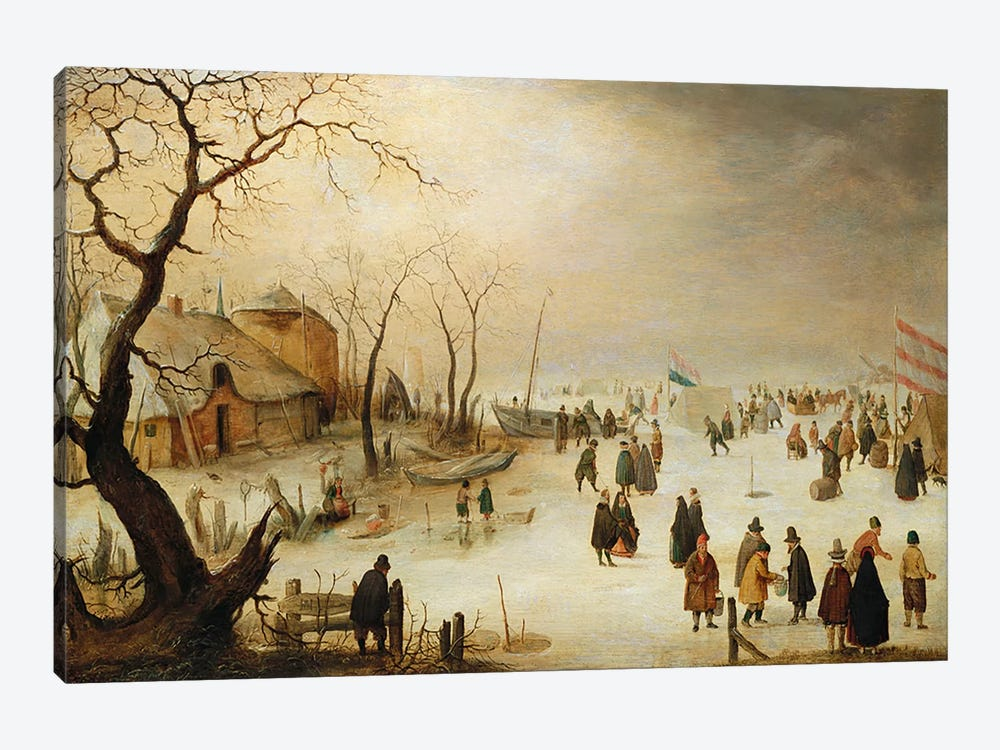A Winter River Landscape with Figures on the Ice  by Hendrik Avercamp 1-piece Canvas Wall Art