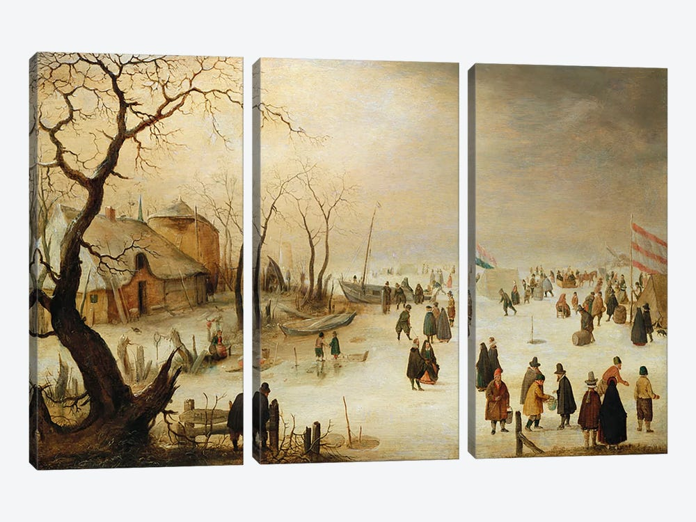 A Winter River Landscape with Figures on the Ice  by Hendrik Avercamp 3-piece Canvas Art