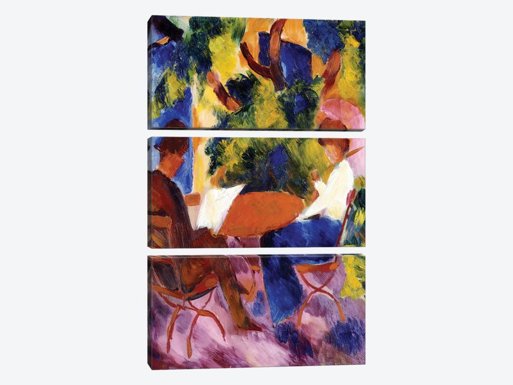 At the Garden Table, 1914  by August Macke 3-piece Canvas Art Print