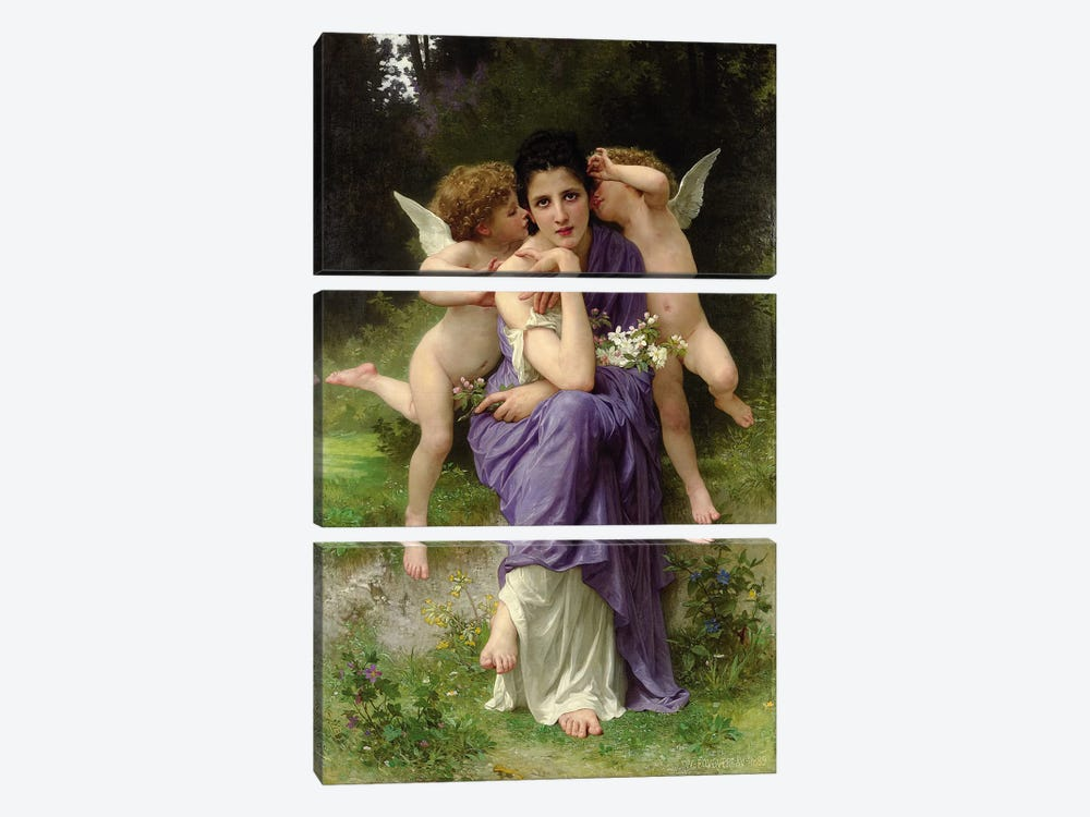 Chansons de Printemps, 1889  by William-Adolphe Bouguereau 3-piece Canvas Art