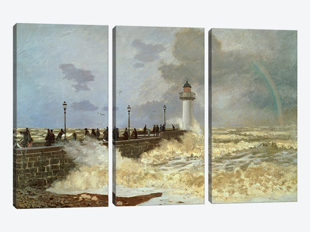 The Quay at Le Havre, 1868  by Claude Monet 3-piece Canvas Wall Art