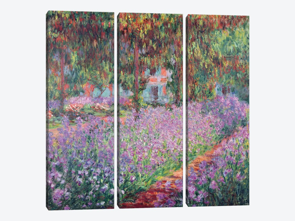 The Artist's Garden at Giverny, 1900  by Claude Monet 3-piece Canvas Print