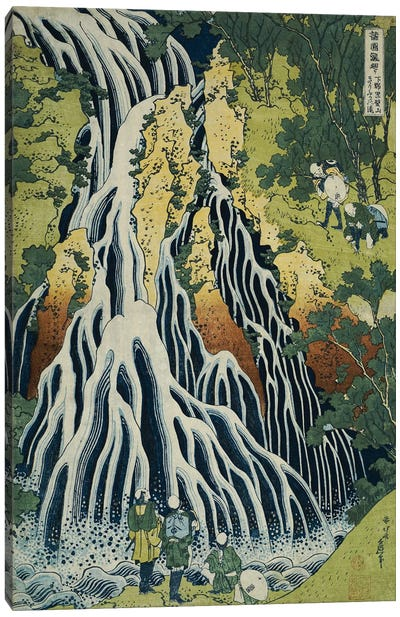 The Kirifuri Waterfall at Mt. Kurokami in Shimotsuke Province, from the series 'A Journey to the Waterfalls of All the Provinces Canvas Art Print