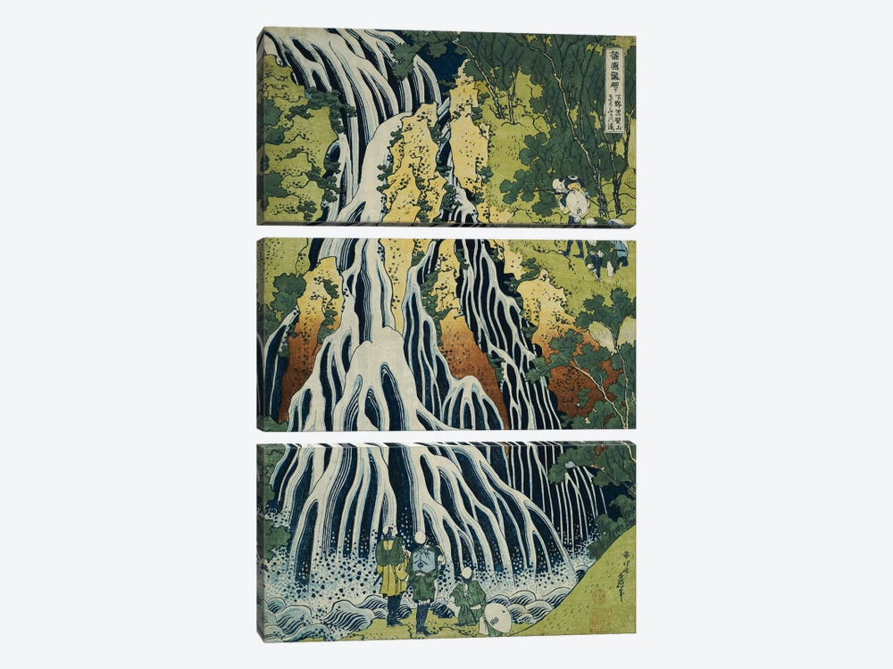 The Kirifuri Waterfall at Mt. Kurokami in Shimotsuke Province, from the series 'A Journey to the Waterfalls of All the Provinces by Katsushika Hokusai 3-piece Canvas Art