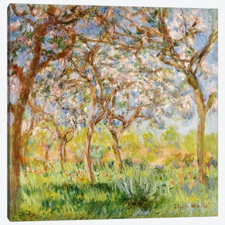 Spring at Giverny  3-Piece Canvas #BMN4977} by Claude Monet Canvas Print