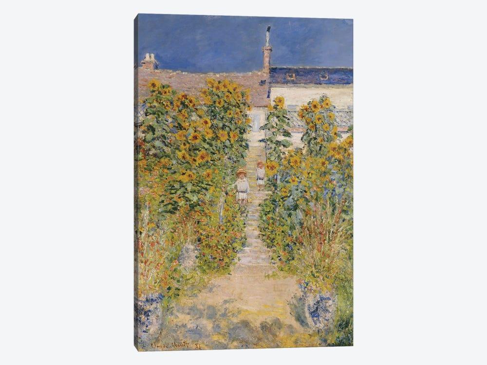 The Artist's Garden at Vetheuil  by Claude Monet 1-piece Canvas Artwork