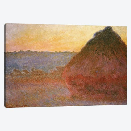 Haystacks, Pink and Blue Impressions, 1891  Canvas Print #BMN4980} by Claude Monet Canvas Print