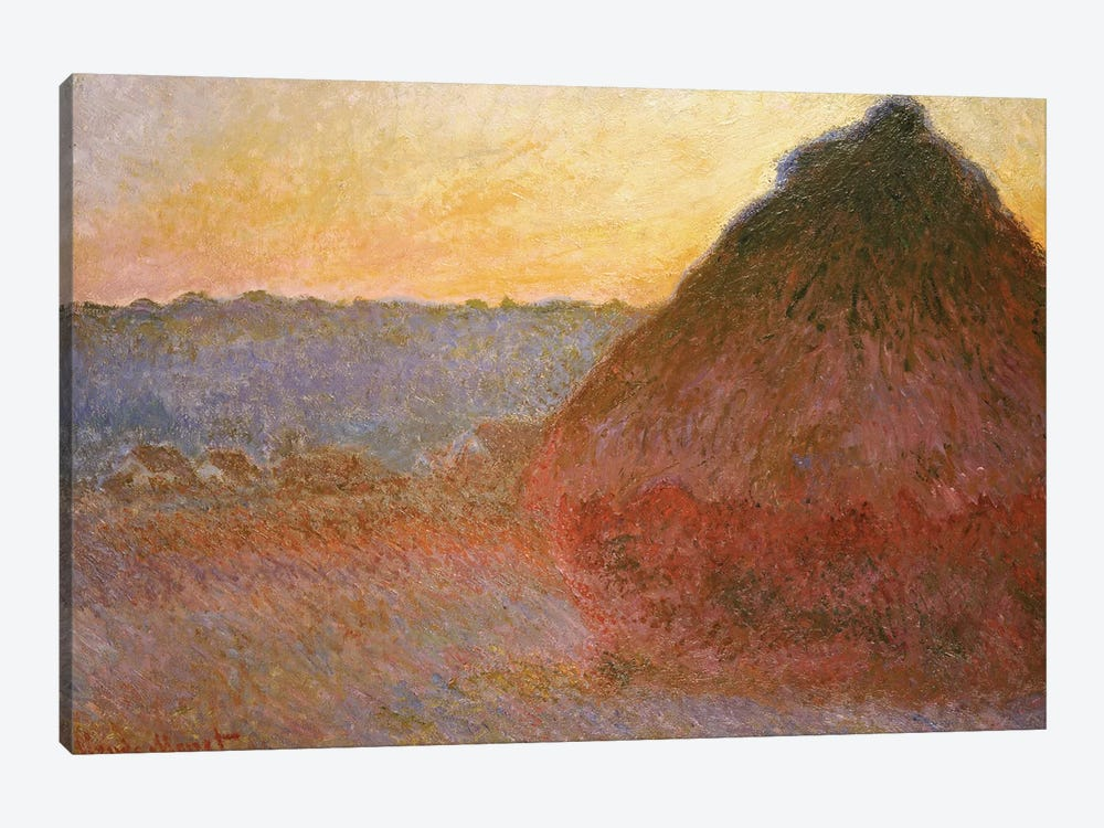 Haystacks, Pink and Blue Impressions, 1891  by Claude Monet 1-piece Canvas Art Print