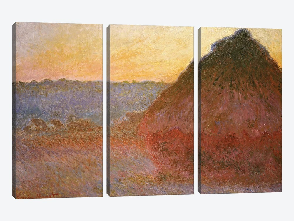 Haystacks, Pink and Blue Impressions, 1891  by Claude Monet 3-piece Canvas Art Print