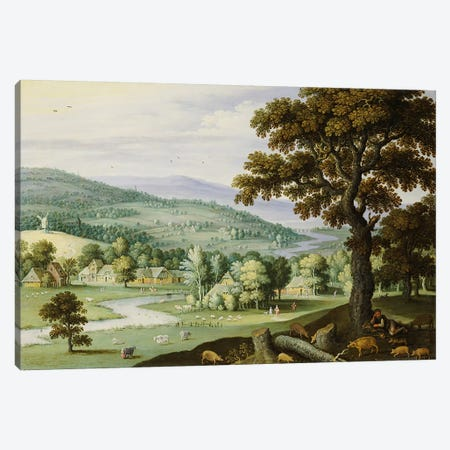 A river valley with a swineherd resting under a tree in the foreground, a hamlet beyond  Canvas Print #BMN4983} by Marten Ryckaert Art Print