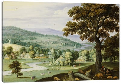 A river valley with a swineherd resting under a tree in the foreground, a hamlet beyond  Canvas Art Print