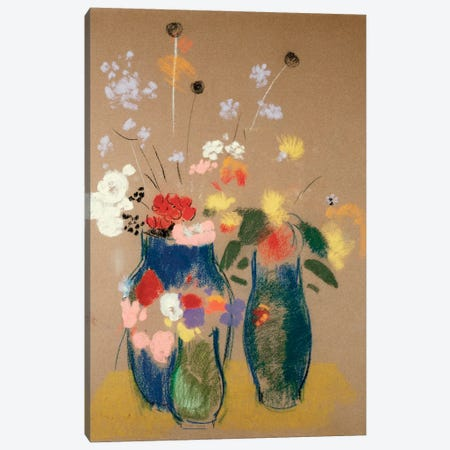 Three Vases of Flowers, c.1908-10  Canvas Print #BMN4984} by Odilon Redon Canvas Art
