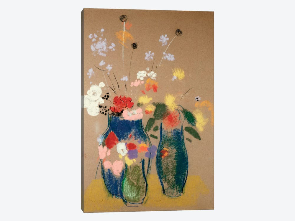 Three Vases of Flowers, c.1908-10  by Odilon Redon 1-piece Canvas Print