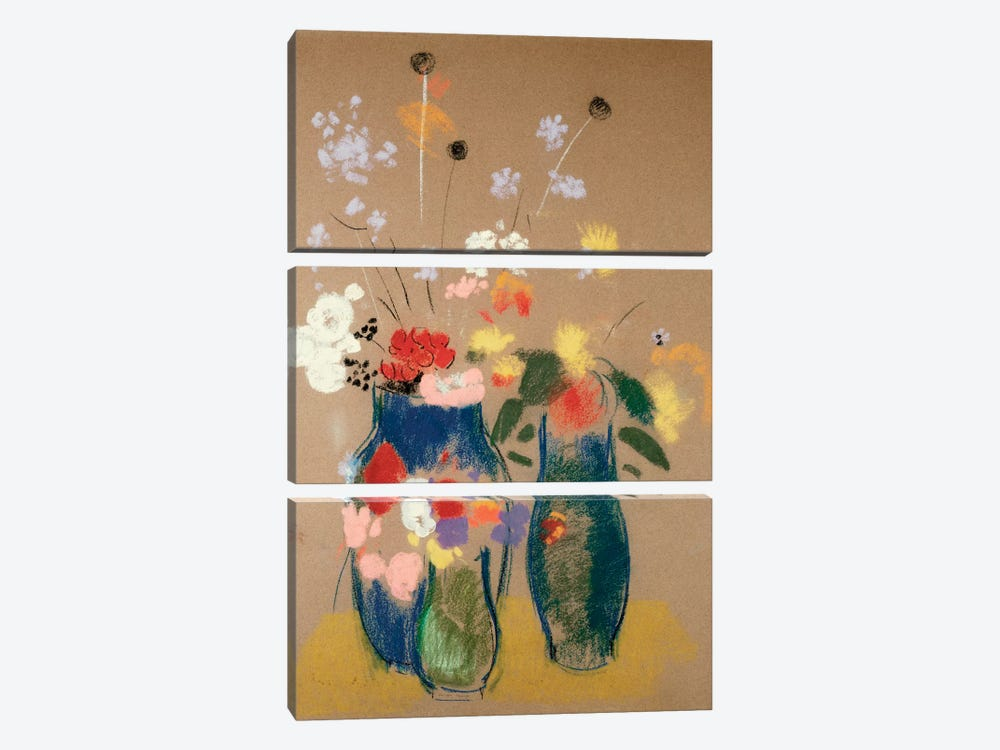 Three Vases of Flowers, c.1908-10  by Odilon Redon 3-piece Canvas Print