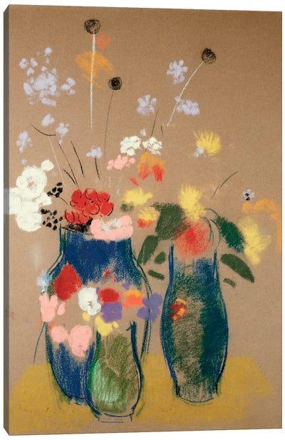Three Vases of Flowers, c.1908-10  Canvas Art Print
