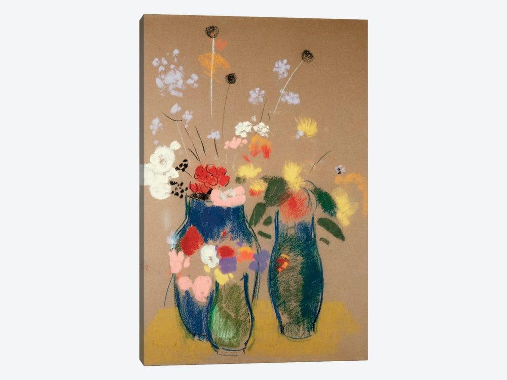 Three Vases of Flowers, c.1908-10  by Odilon Redon 1-piece Canvas Print