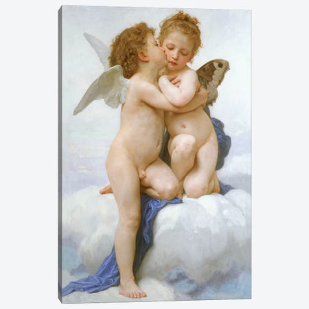 The First Kiss  Canvas Print #BMN4987} by William-Adolphe Bouguereau Canvas Art