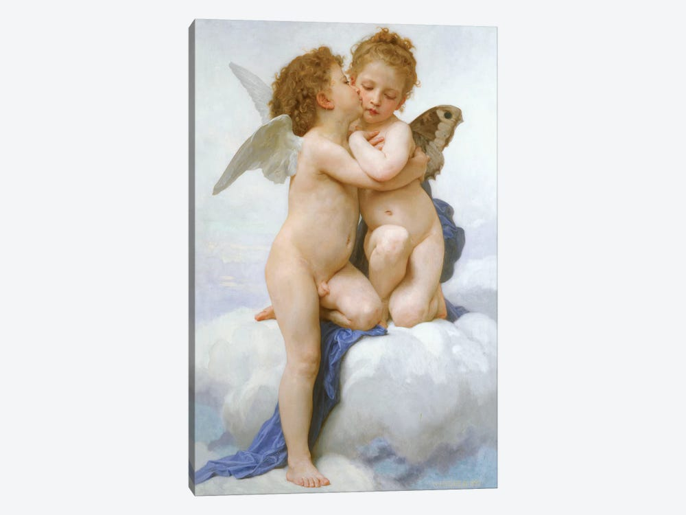 The First Kiss  by William-Adolphe Bouguereau 1-piece Canvas Art