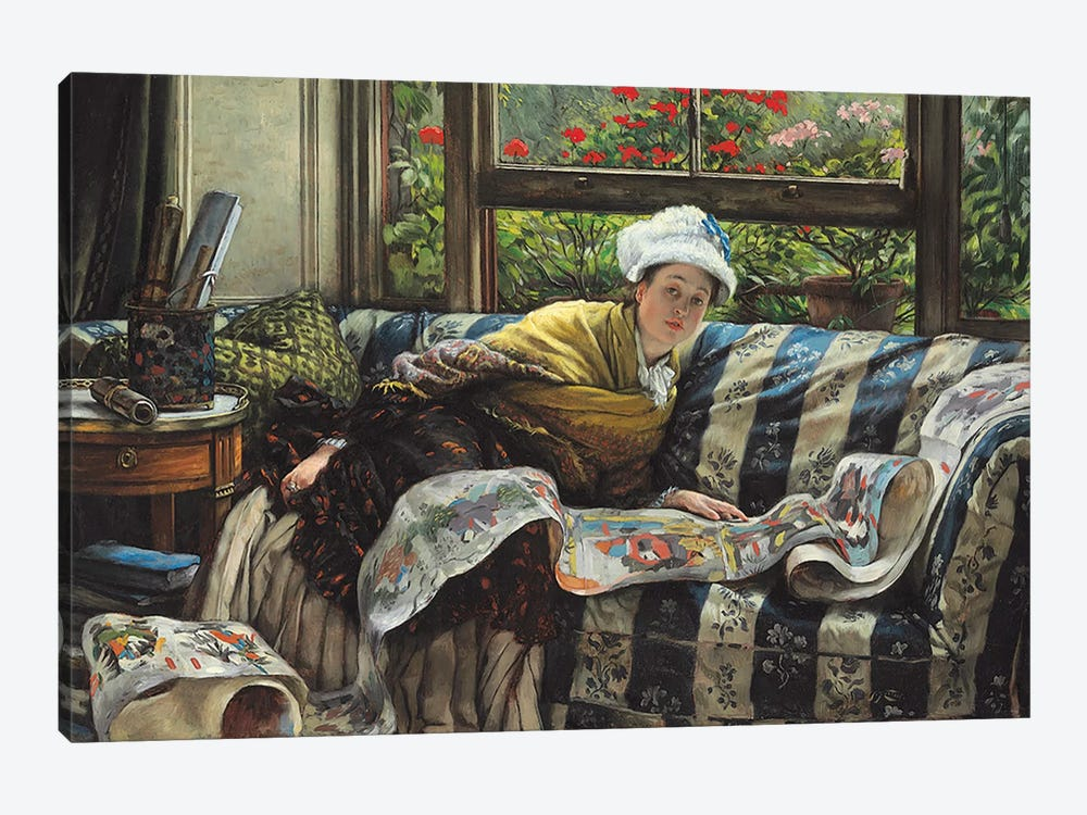 The Japanese Scroll  by James Jacques Joseph Tissot 1-piece Canvas Art Print