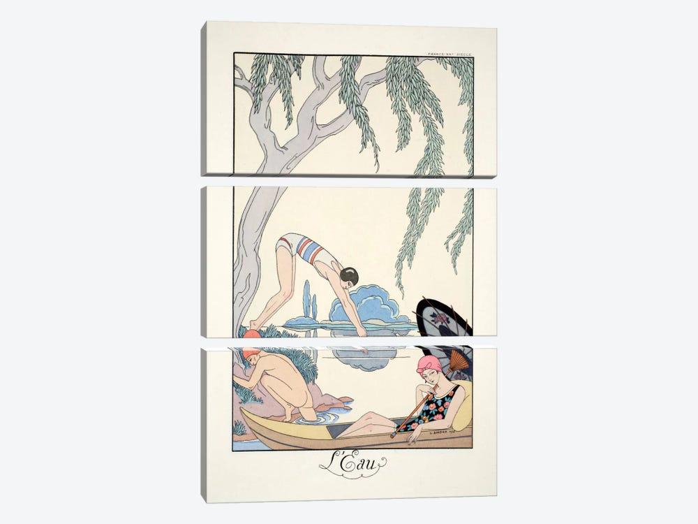 Water, from 'Falbalas & Fanfreluches, Almanach des Modes Présentes by George Barbier 3-piece Canvas Print