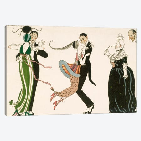 The Madness of the Day, engraved by H. Reidel Canvas Print #BMN4} by George Barbier Canvas Wall Art