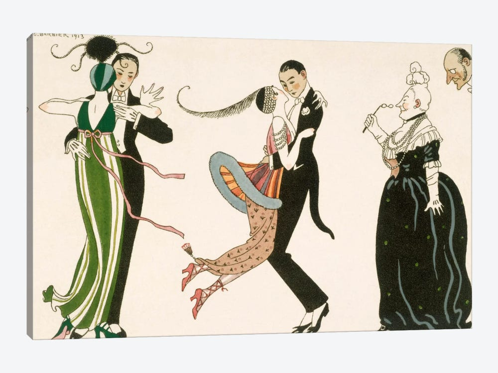 The Madness of the Day, engraved by H. Reidel by Georges Barbier 1-piece Canvas Art